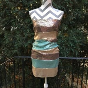 Windsor colorblock sequin strapless mini dress | M